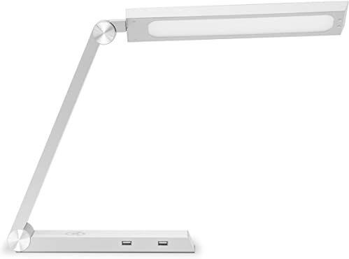 Gastroback, srebrna 60000 Design Light & Charge, A++ to A, lampa biurkowa LED z indukcyjną stacją ładującą, bezprzewodowa ładowarka Qi i porty USB, 60 W, plastik, zintegrowana, 28 x 6 x 32 cm