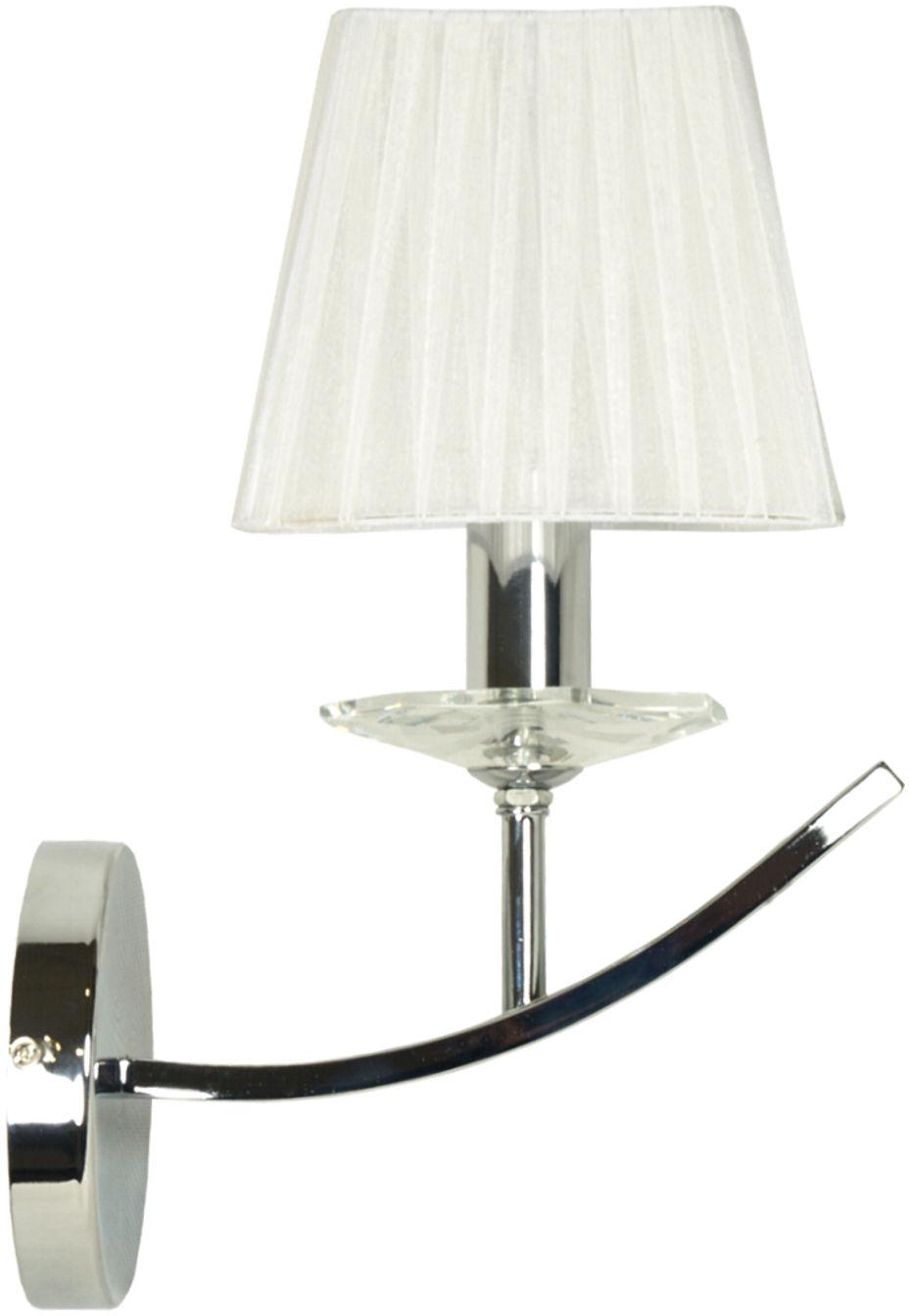 Candellux VALENCIA 21-84418 kinkiet lampa ścienna abażur chrom biały 1X40W E14 CHROM 15cm