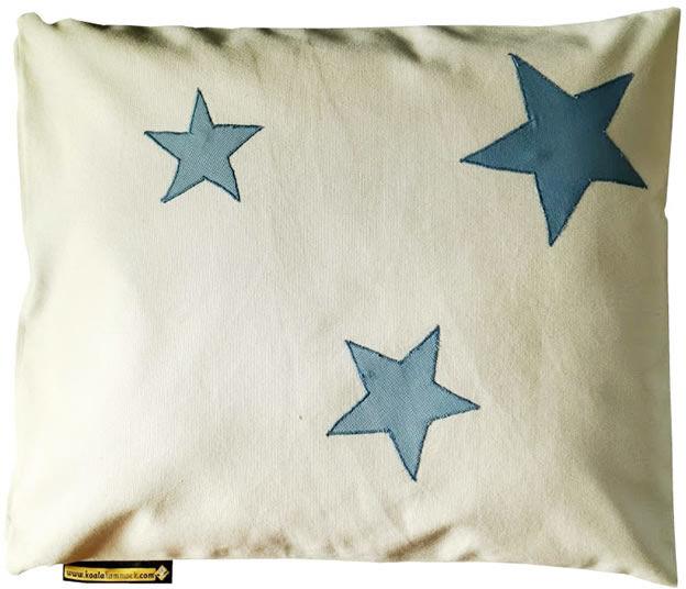 Poduszka hamakowa duża z haftem, ecru-niebieski HP z haftem