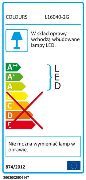 Spot listwa LED Colours Hades 2 x 4 W satyna
