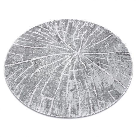 Dywan MEFE nowoczesny Koło 2784 Pień drzewo drewno - Strukturalny, dwa poziomy runa szary koło 100 cm