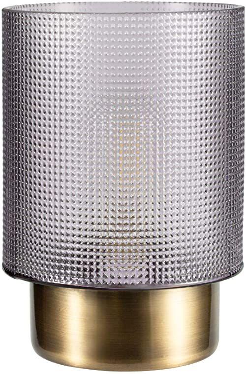 Pauleen 48133 Pure Glamour przenośna lampa zegar stołowy funkcja 6H bateria lampa bez kabla szary metal, 0,8 W, dymione szkło, mosiądz