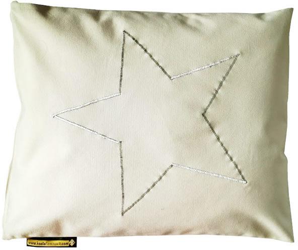 Poduszka hamakowa duża z haftem, ecru-srebrny HP z haftem