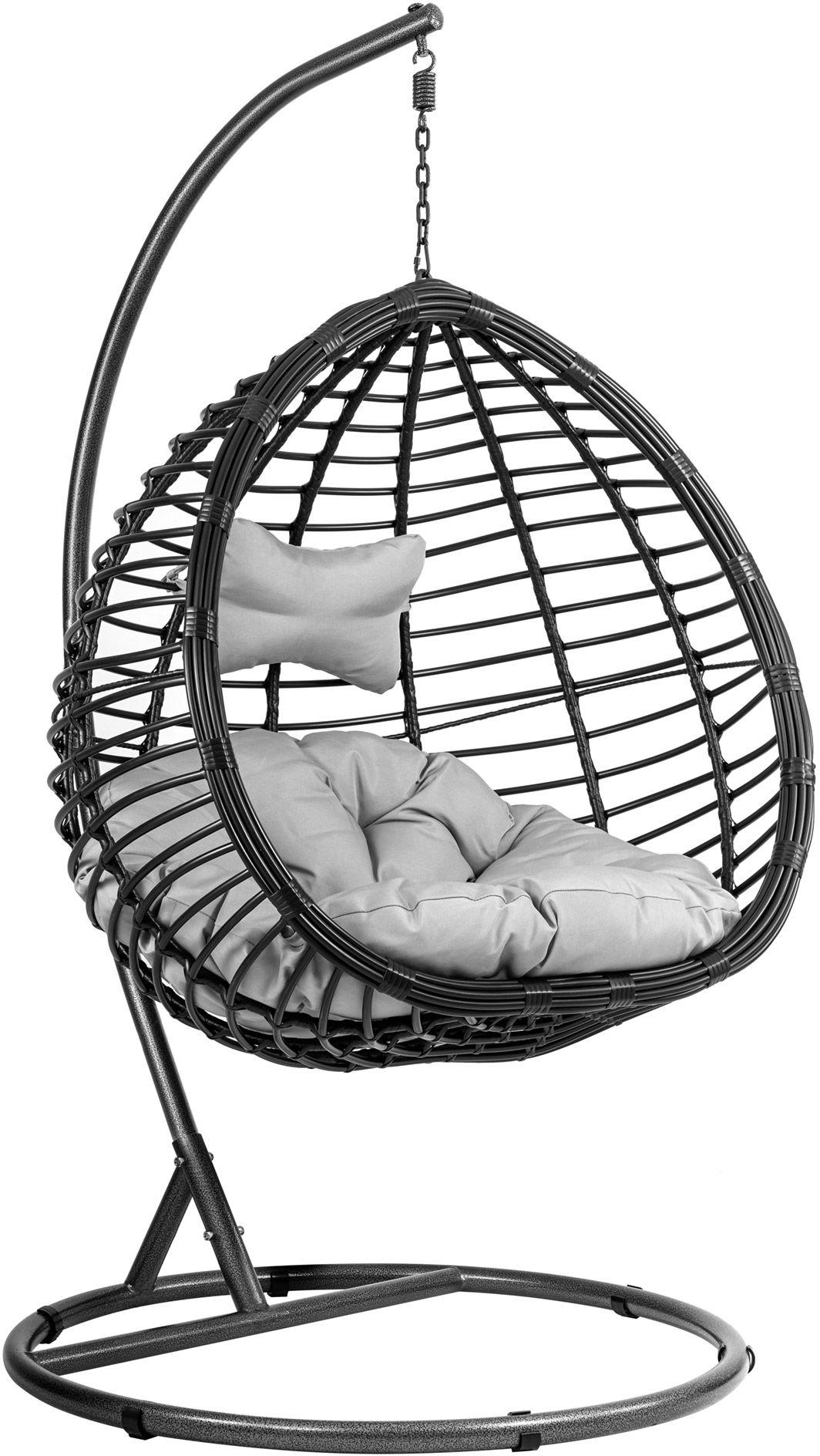 Kokon Napoli I huśtawka, wiszący fotel - Czarny/Szary
