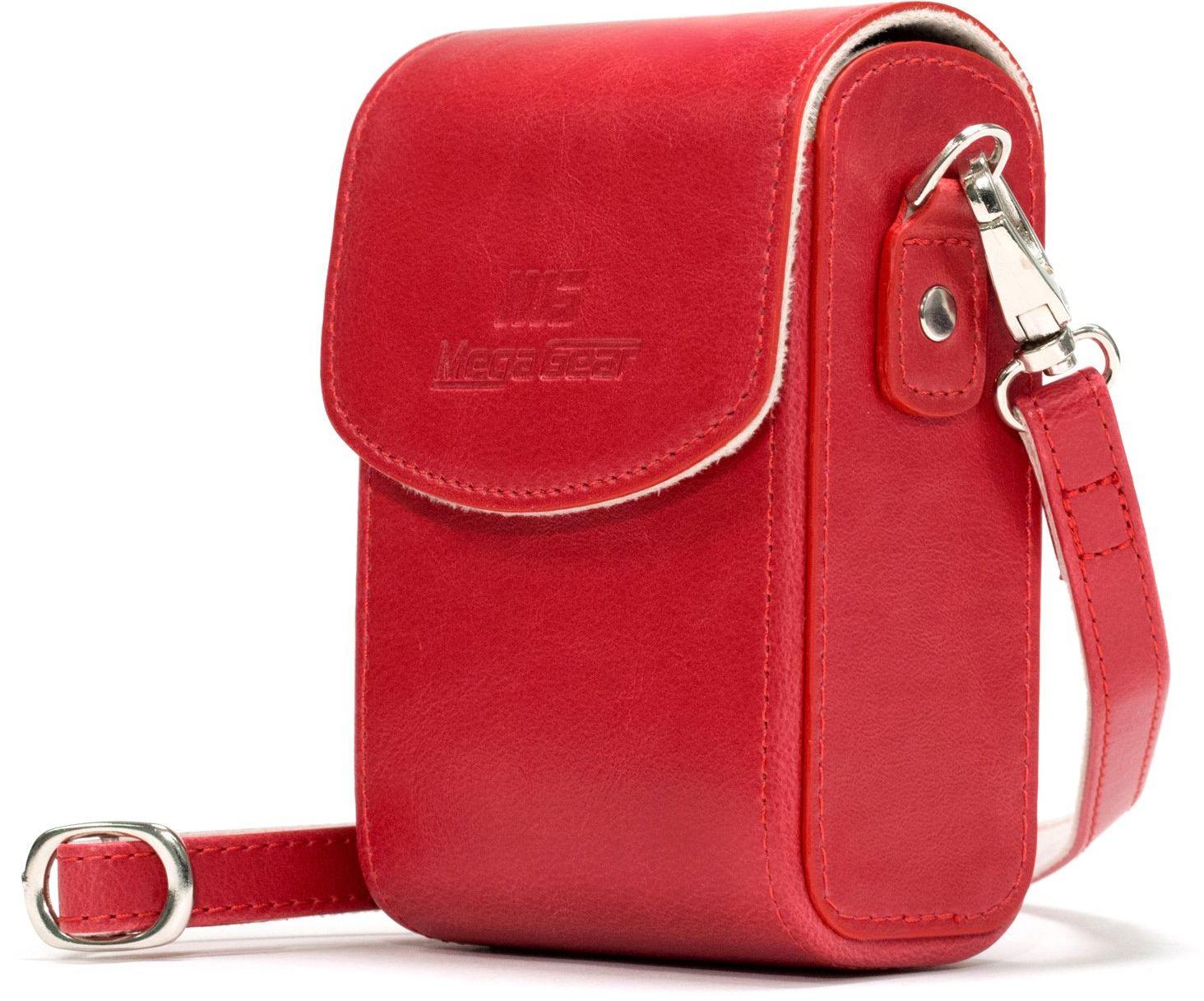 MegaGear MG1218 Nikon Coolpix A1000, A900 skórzana torba na aparat z paskiem do noszenia - czerwona