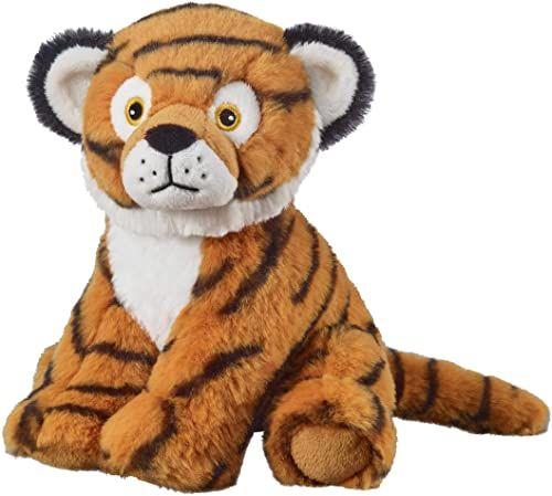 Bauer Spielwaren I Like My Planet - Tiger: Przytulanka z miękkiego pluszu, wyprodukowana z przetworzonych butelek PET, w 100% z recyklingu, siedząca, 20 cm, brązowo-czarna (12924)