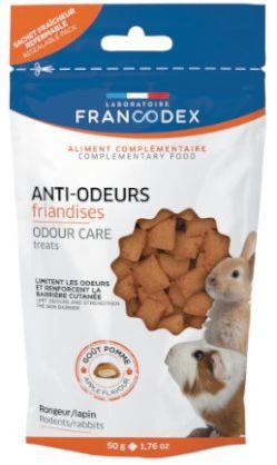 Francodex Przysmaki zapobiegające nieprzyjemnym zapachom sierści, moczu i trawienia, dla gryzoni 50g