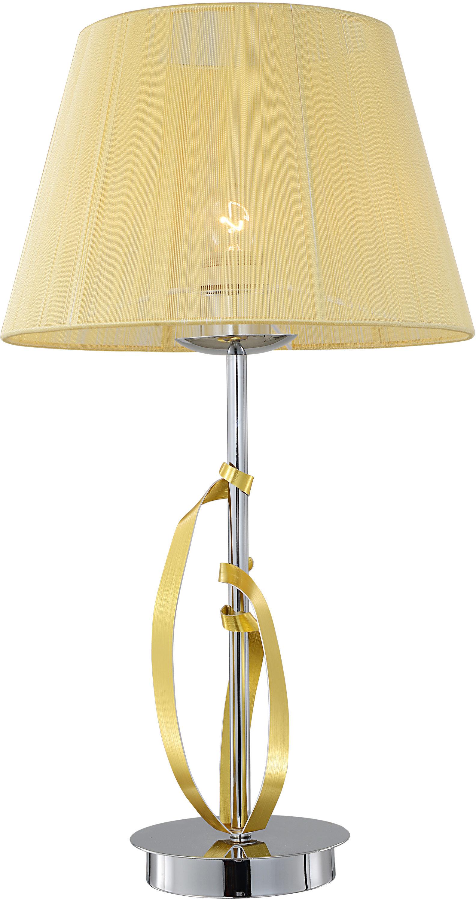 Candellux DIVA 41-55071 lampa stołowa chrom abażur złoty 1X60W E27 23cm
