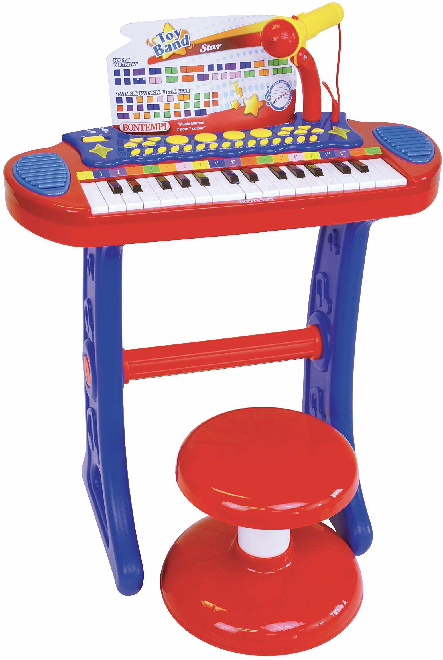 Bontempi 13 3240 elektroniczny organ z nogami, taboretem i mikrofonem, wielokolorowy