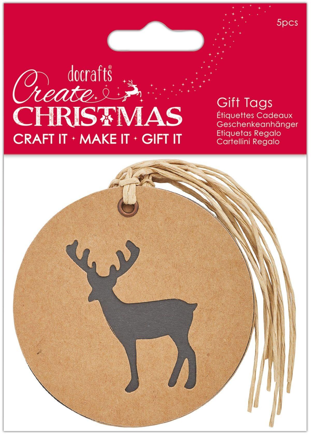 Stwórz Boże Narodzenie sylwetka jelenia Kraft etykieta na prezent, kremowa, jeden rozmiar