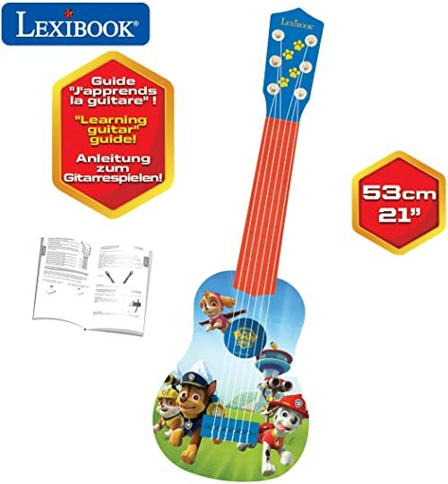 LEXIBOOK Psi Patrol Chase My first guitar, 6 strun nylonowych, 53 cm, w zestawie prowadnica, niebieski/czerwony, K200PA