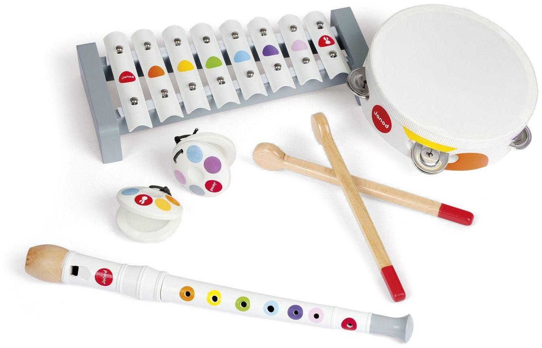 Janod J07600 zestaw instrumentów muzycznych z drewna, standard (4 instrumenty)