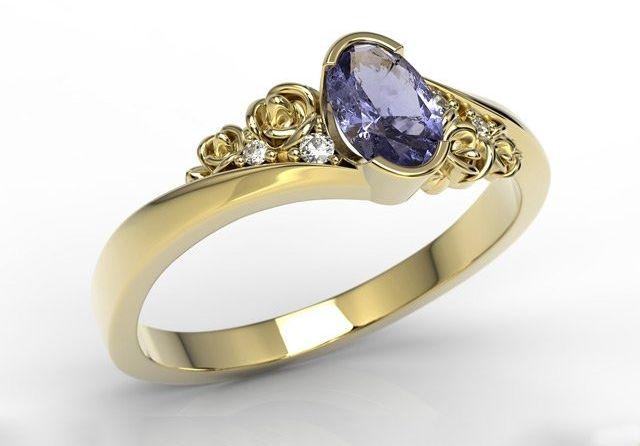 Pierścionek zaręczynowy z żółtego złota ap-39z z tanzanitem i diamentami 0,03 ct