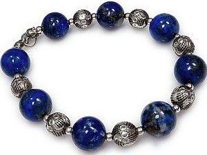 Lapis Lazuli Srebro Piękna Bransoletka Certyfikat