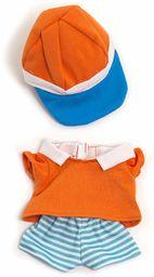 Miniland 31681 sukienka dla lalek, pomarańczowa, biała, niebieska, 21 cm