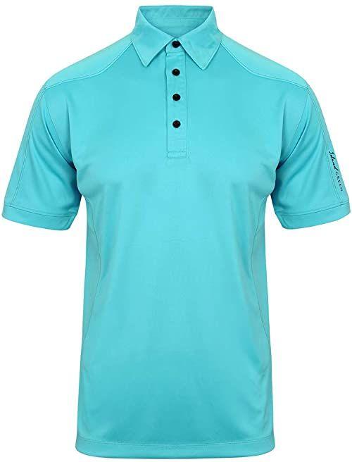Island Green Męska wydajna oddychająca odprowadzająca wilgoć koszulka polo z krótkim rękawem koszulka golfowa turkusowy S