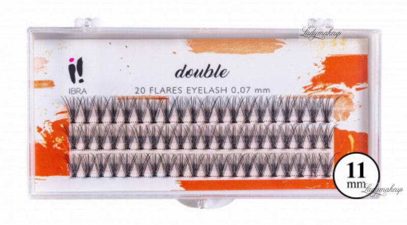 Ibra - ,,DOUBLE'' FLARES EYELASH - KNOT-FREE - Kępki sztucznych rzęs o podwójnej objętości - 11 mm