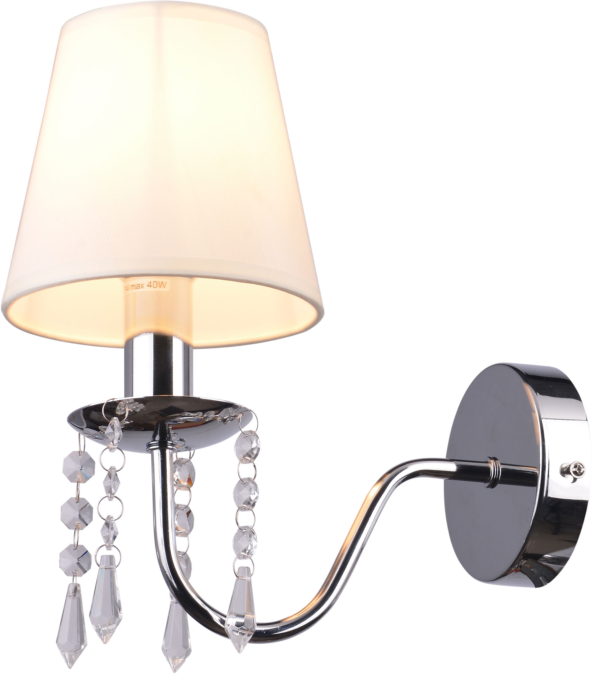 Candellux RUTI 21-58706 kinkiet lampa ścienna chrom 1X40W E14 abażur beżowy kryształki 25cm