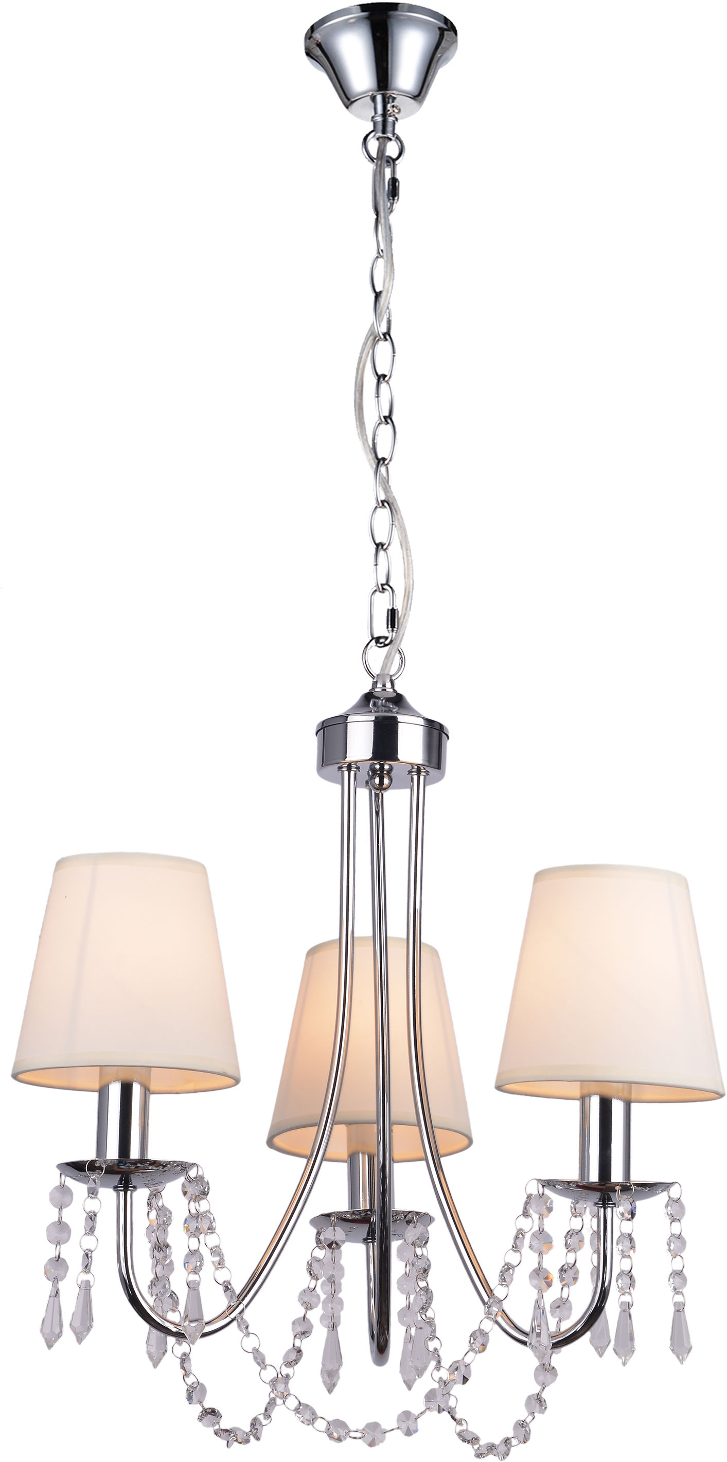 Candellux RUTI 33-58713 lampa wisząca abażur beżowy 3X40W E14 chrom kryształki 50cm
