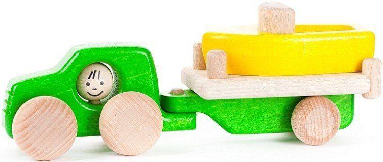"""Drewniany samochód """"Łódka na przyczepce"""", 46410-BAJO - samochody zabawki"""