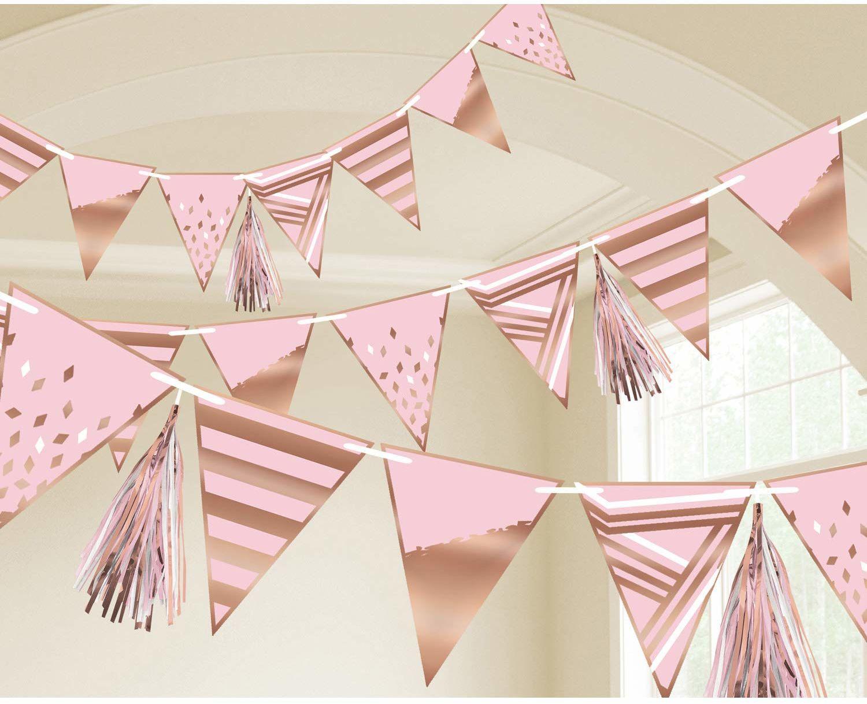 Amscan 9906363 - łańcuch chorągiewek w kolorze różowego złota, długość 255 cm, błyszcząca girlanda z trójkątnymi flagami, dekoracja wisząca na urodziny, chrzest, imprezę w ogrodzie