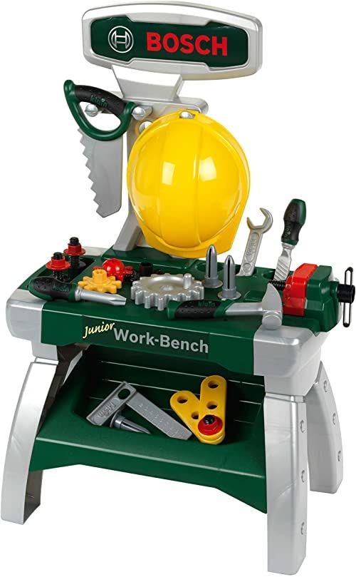 Theo Klein 8612 Warsztat Bosch Junior 2+ W zestawie: kask, imadło, narzędzia, listwy, gwoździe, śrubki i nakrętki Wymiary: 49 cm x 29 cm x 71 cm