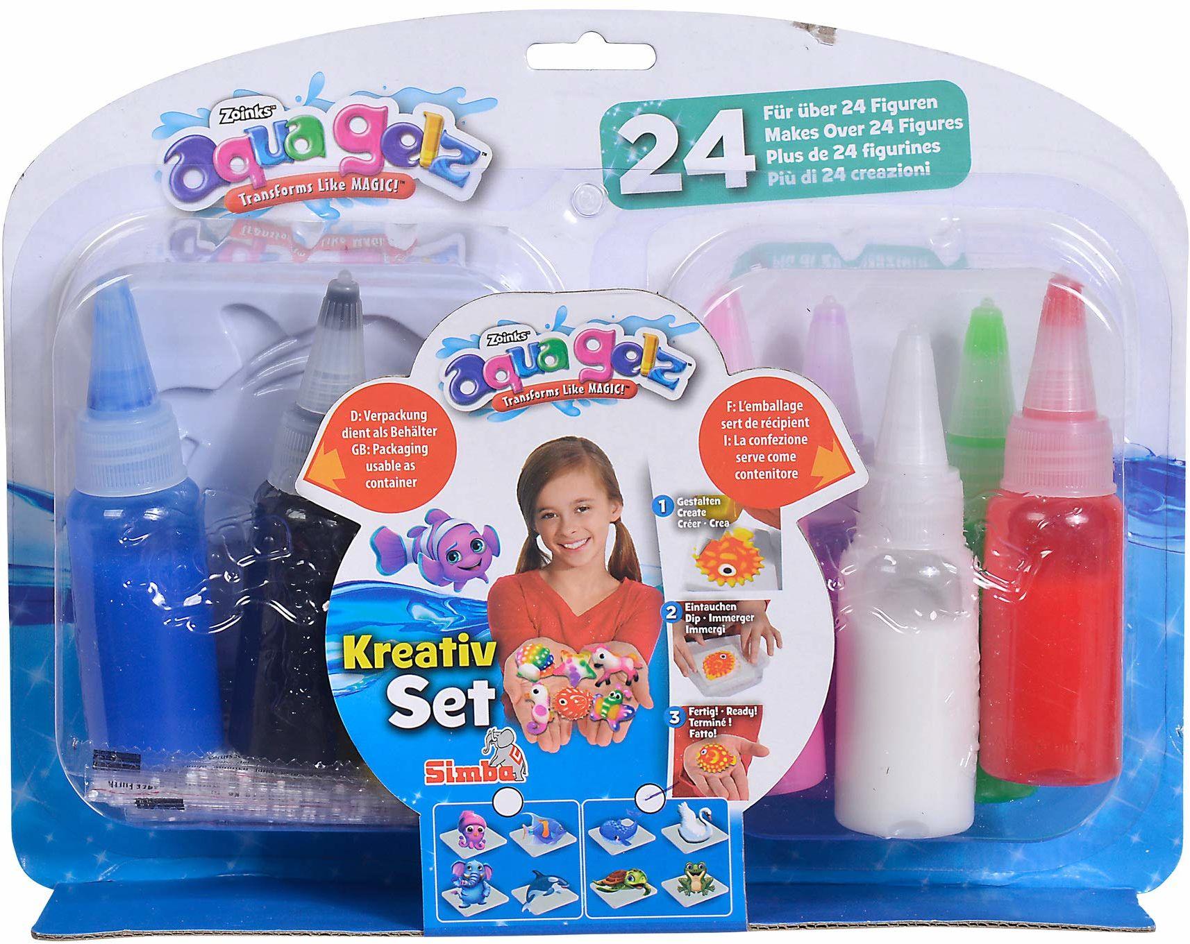 Simba 106322451 Aqua Gelz kreatywny zestaw, miękkie figurki w 3D, zanurz kolorowy żel w kształtach, od 8 lat