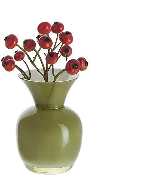 Dartington kryształowe małe skarby oliwkowy i biały wazon, zielony, 105 mm (wys.)
