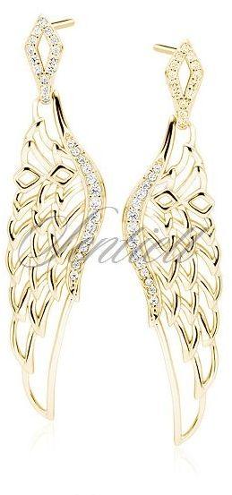 Srebrne pr. 925 kolczyki - pozłacane duże skrzydła z cyrkoniami - żółte złoto