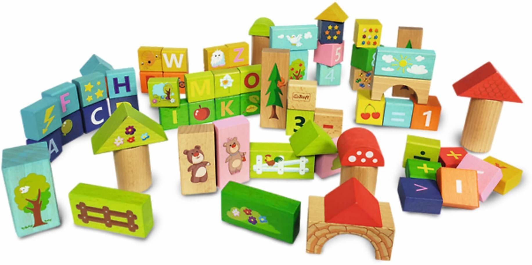 Trefl Sprytne Klocki Misia Zdzisia Zabawka Drewniana dla Dzieci od 2 roku życia