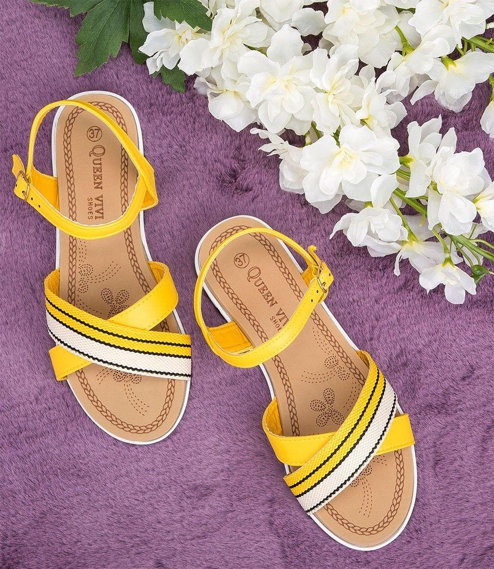 Sandałki damskie Queen Vivi 218-235 Żółte