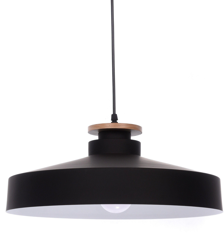 Lampa wisząca Ludor czarna z drewnem LDP 7974 BK - Lumina Deco // Rabaty w koszyku i darmowa dostawa od 299zł !