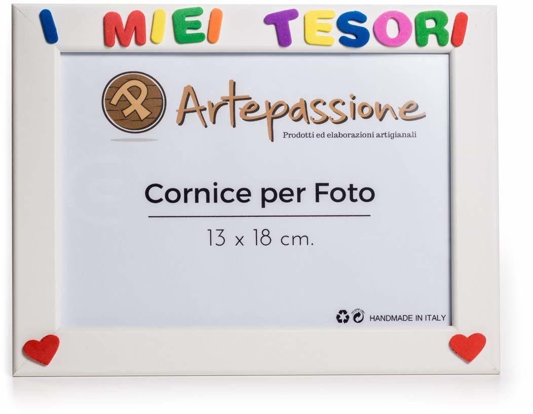 Artepassion ramka na zdjęcia z drewna z napisem I Miei Tesori ozdobiona sercami, biała, 13 x 18 cm