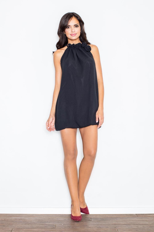 Czarna mini sukienka tunika bombka z kwiatem