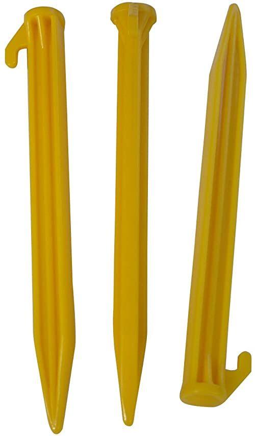 L.A. Trekking Śledzie z tworzywa sztucznego, 6 sztuk, żółte, 20 x 2 x 2 cm, 82526