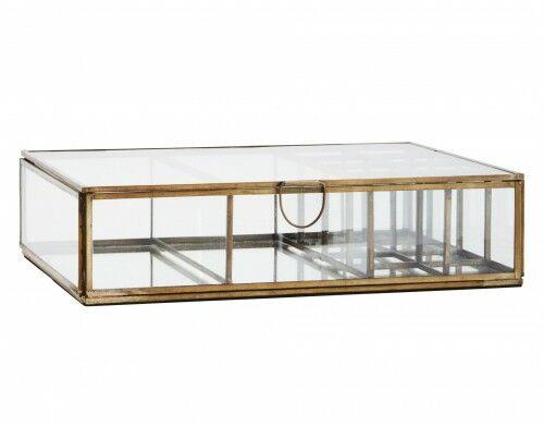 Szklane pudełko/szkatułka Madam Stoltz antyczna miedź