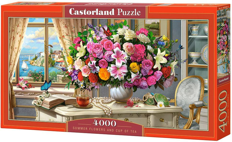 Puzzle Castor 4000 - Letnie Kwiaty i filiażanka herbaty