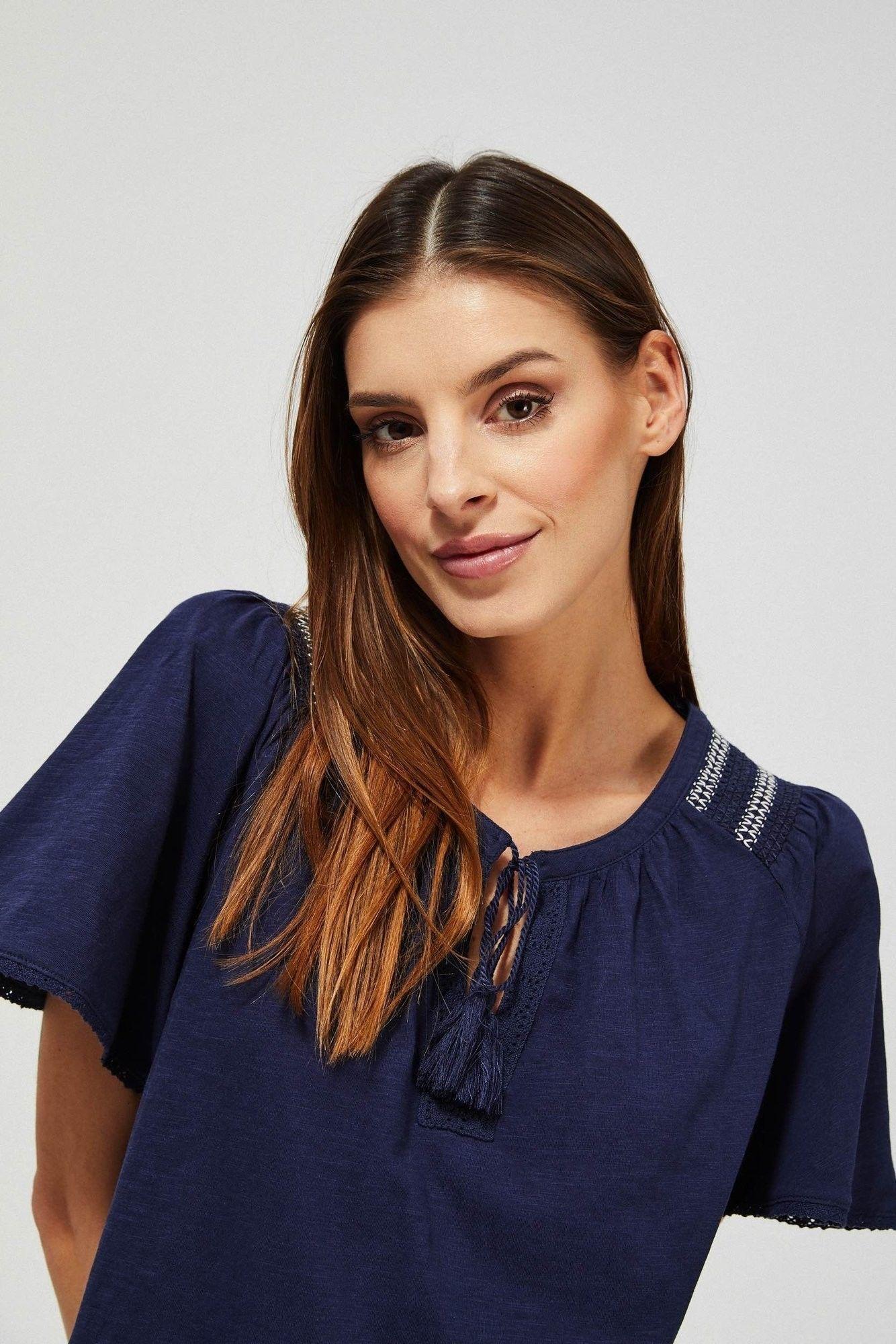 Bluzka z bawełny organicznej z haftem