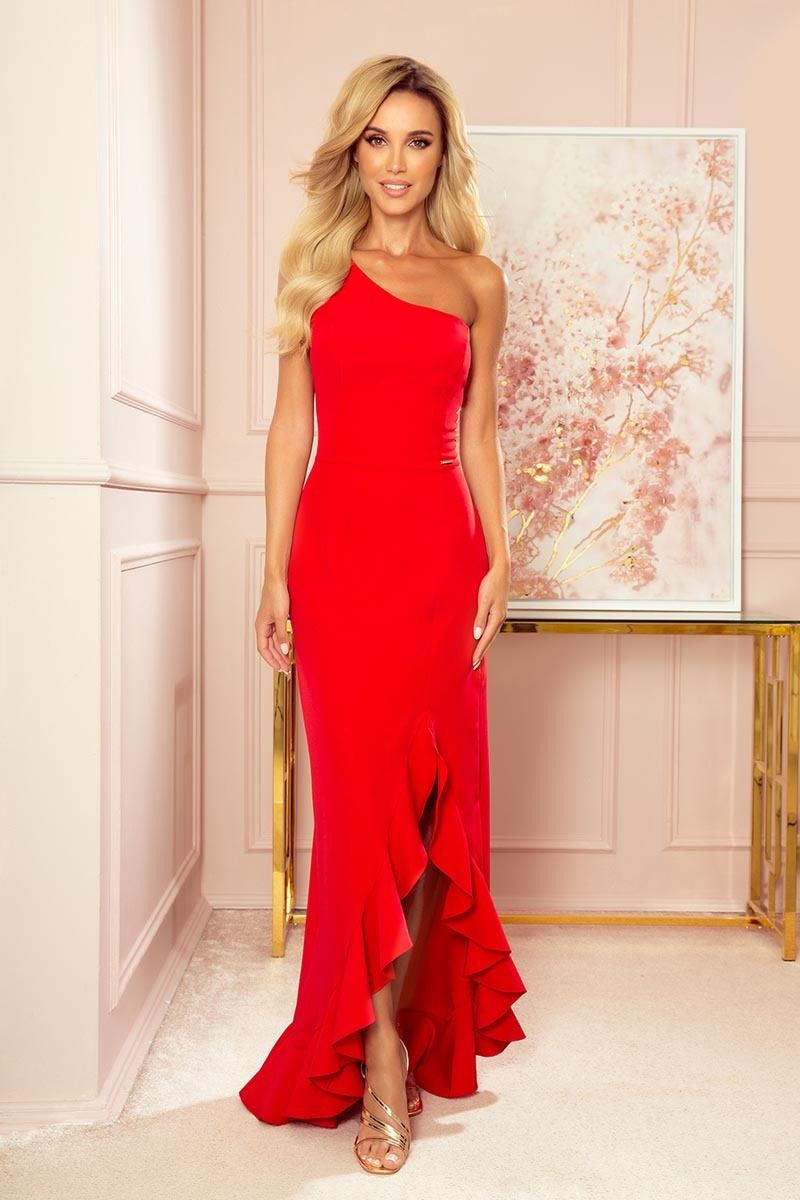 Czerwona długa sukienka na jedno ramię z falbankami