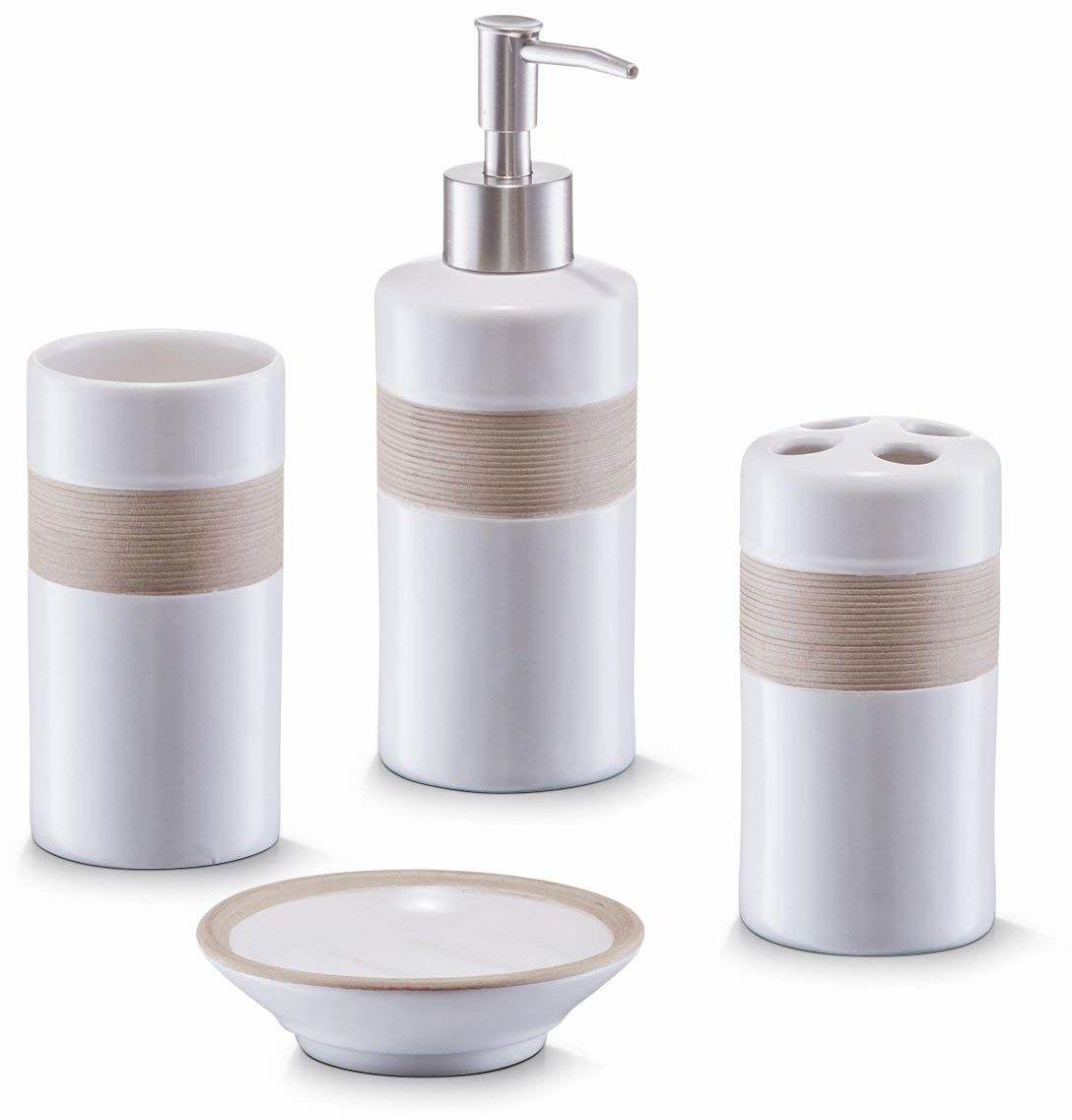 Zeller 18260 4-częściowy zestaw akcesoriów łazienkowych beżowa i brązowa ceramika