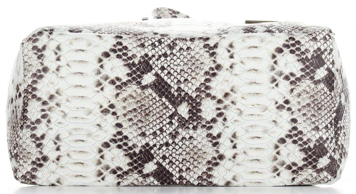 Firmowe Torebki Skórzane Vittoria Gotti Modny Włoski ShopperBag XL w motyw węża Czarna (kolory)