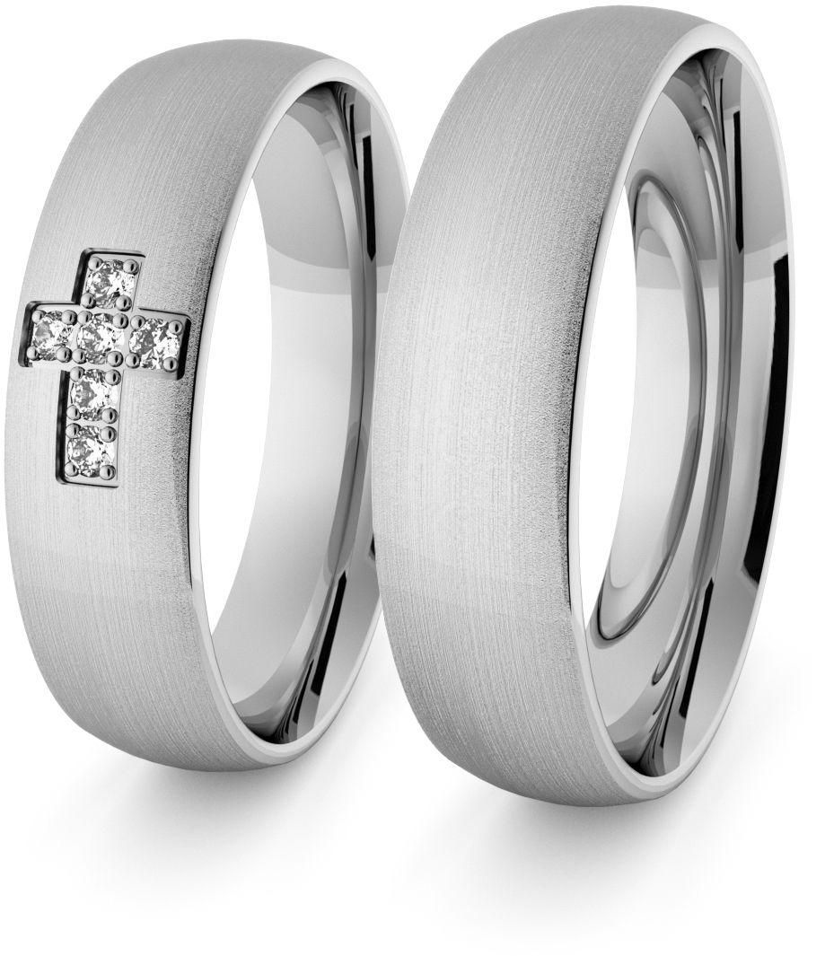 Obrączki srebrne klasyczne z krzyżykiem 5 mm - 70