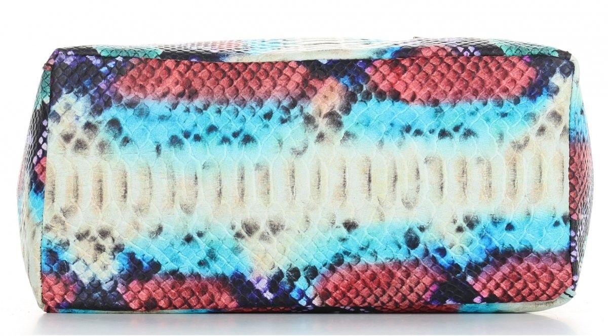 Vittoria Gotti Firmowe Torebki Skórzane Włoski Shopper XL w modny wzór węża Turkusowa (kolory)