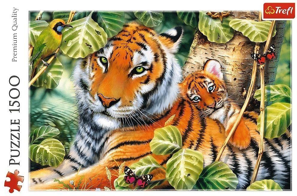 Puzzle TREFL 1500 - Dwa tygrysy, Two tigers