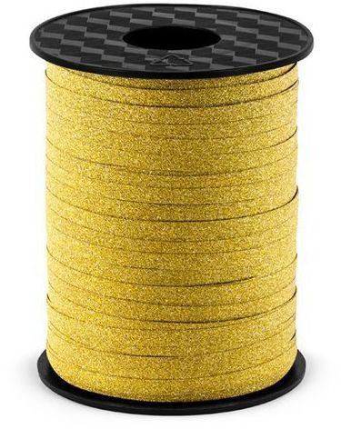 Wstążka plastikowa brokatowa złota 5mm 225m PRB5-019
