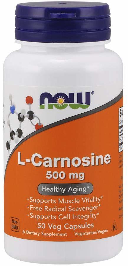 NOW FOODS L-Carnosine 500mg (L-Karnozyna) 50 Kapsułek wegetariańskich