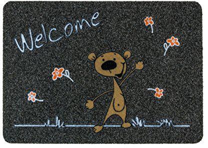 ASTRA 0455015192 wycieraczka pod drzwi, polipropylen, Welcome Bär - szara/antracyt, 40 x 60 x 0, 8 cm