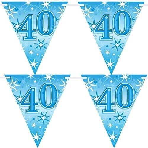 """Baner urodzinowy z flag na 40 urodziny """"Gwiazdki"""" niebieski"""