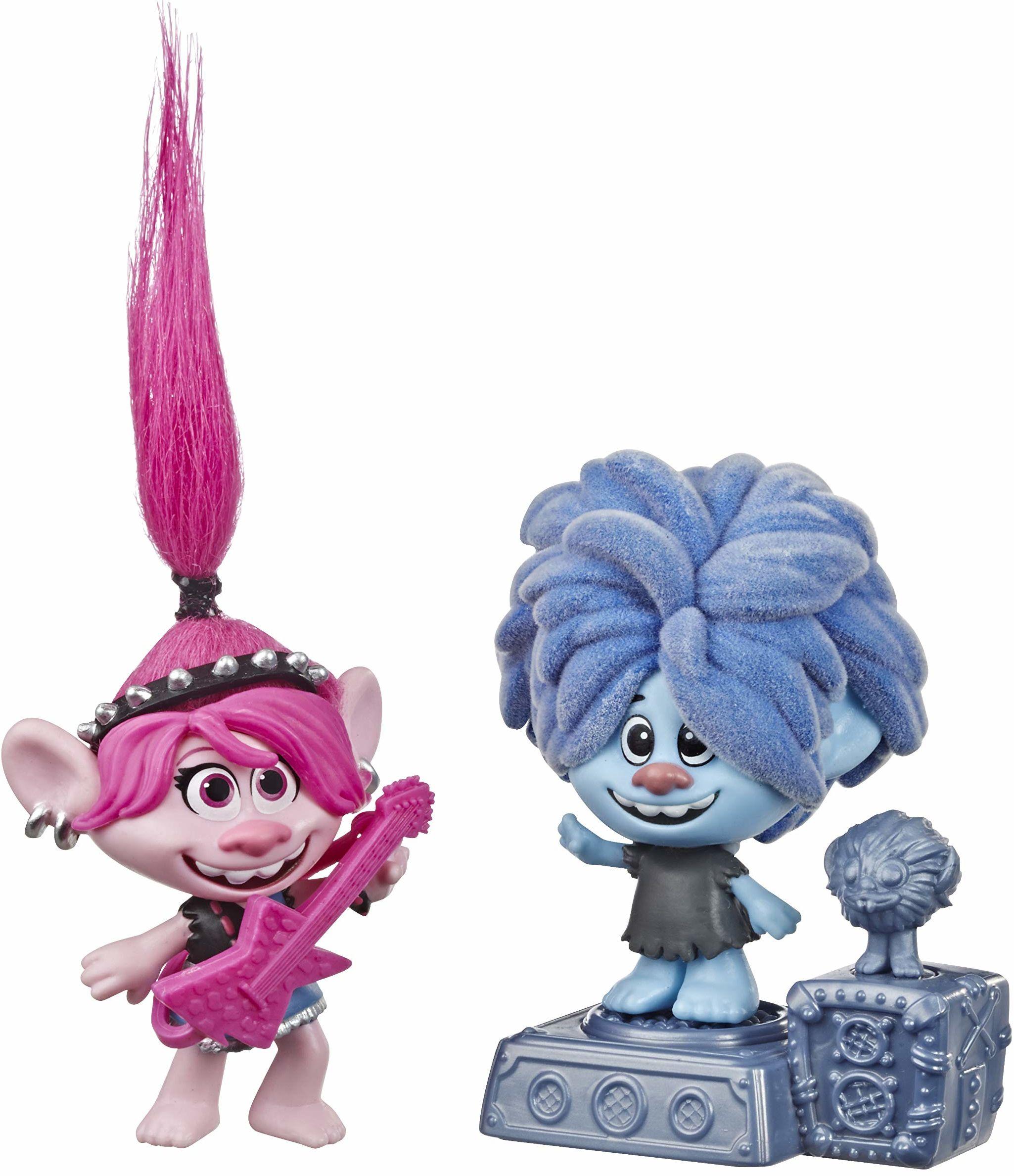 Hasbro DreamWorks Trolls World Tour Rock City zabawa z 2 figurkami, 1 z ruchomym ruchem i cokołem, zabawka do filmu Trolls World Tour