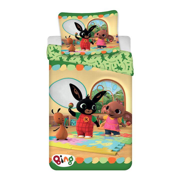 Pościel dziecięca 140x200 Królik Bing 9794 króliczek przyjaciele żółta poszewka 70x90